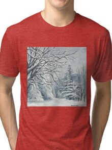 Mountains and Trees on a Snowy Day Tri-blend T-Shirt