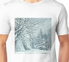 Mountains and Trees on a Snowy Day Unisex T-Shirt