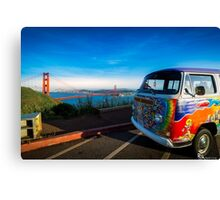 VW Bus vor Golden Gate Bridge Canvas Print
