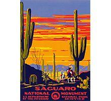 Saguaro National Park Vintage Travel Poster Photographic Print