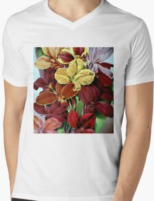 Red Flowers Mens V-Neck T-Shirt