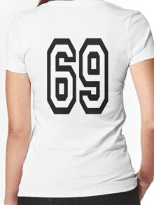 69, TEAM, SPORT, NUMBER, SIXTY NINE, SIXTY NINTH, Soixante Neuf, Competition Women's Fitted V-Neck T-Shirt