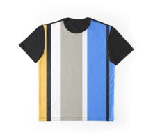 Stripy - Ochre, Grey and Blue Graphic T-Shirt