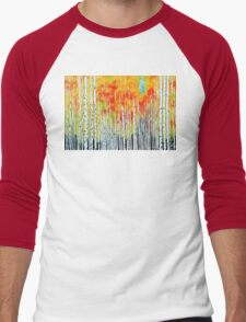Autumn Aspen Trees Quaking Colorado Colorful Forest Men's Baseball ¾ T-Shirt