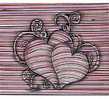 Heart 3d style line Photographic Print