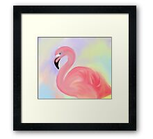 Pink Flamingo With Pastel Background Print Framed Print