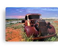 A rusty old pick-up truck in a field Metal Print
