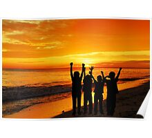 Children silhouettes on a  sunset beach Poster