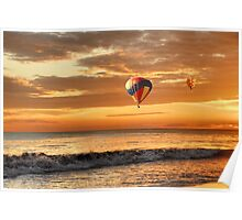 Hot air balloons over sunset beach Poster