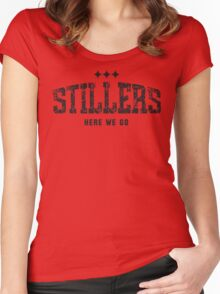 STILLERS DISTRESSED (black) Women's Fitted Scoop T-Shirt