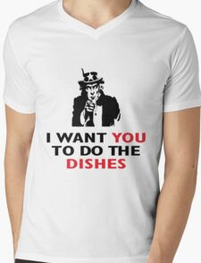 I WANT YOU TO DO THE DISHES Mens V-Neck T-Shirt