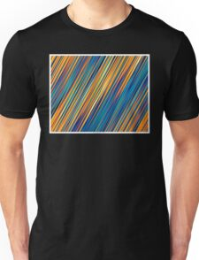 Color and Form Abstract - Striped Line Rain of Yellows and Blues Unisex T-Shirt
