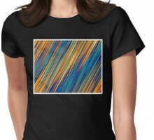 Color and Form Abstract - Striped Line Rain of Yellows and Blues Womens Fitted T-Shirt