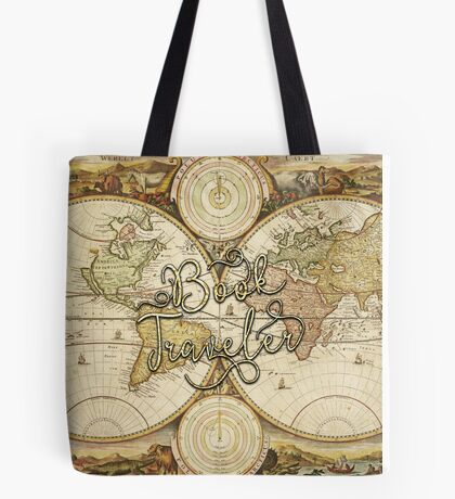 Book Traveler Vintage Map Tote Bag