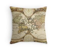 Book Traveler Vintage Map Throw Pillow