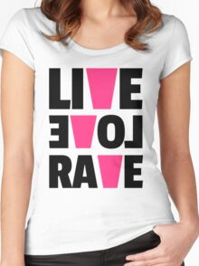 Live Love Rave Music Quote Women's Fitted Scoop T-Shirt