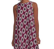 Nouveau Eye Checkerboard Plum A-Line Dress