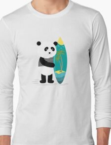 Surf along with the panda. Long Sleeve T-Shirt