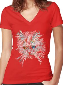 Odd-Eyed White Glowing Cat Women's Fitted V-Neck T-Shirt
