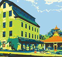 Woolen Mill & Pagoda - Cedarburg WI (bold) SQUARE by katherinepaulin