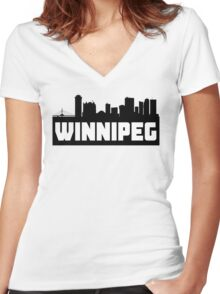 Winnipeg Manitoba Skyline Women's Fitted V-Neck T-Shirt