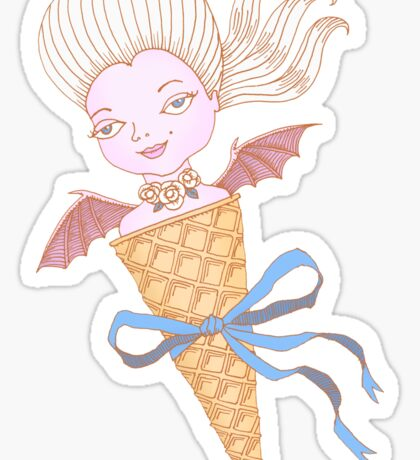 Marie Antoinette Ice Cream Cone with Bat Wings Sticker