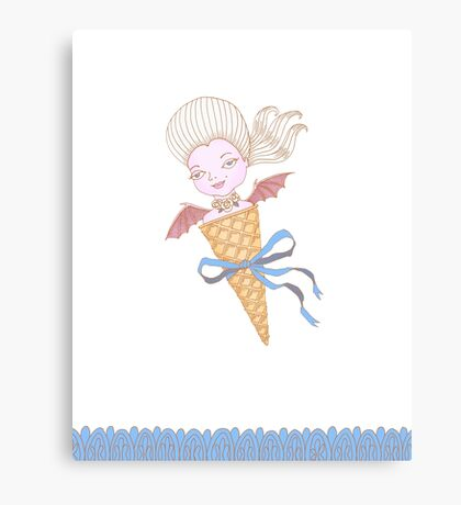 Marie Antoinette Ice Cream Cone with Bat Wings Canvas Print