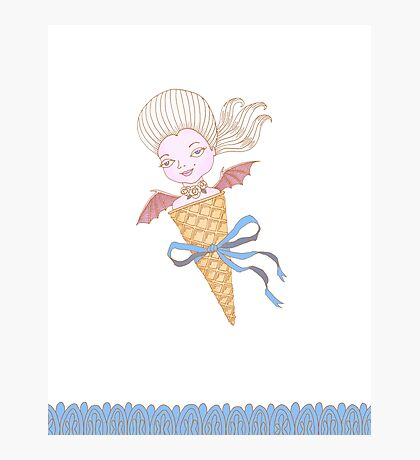 Marie Antoinette Ice Cream Cone with Bat Wings Photographic Print