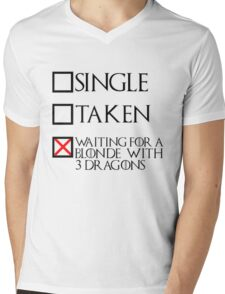 Waiting for a blonde with 3 dragons (black text + cross) Mens V-Neck T-Shirt