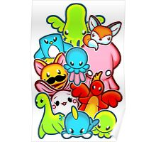 Kawaii Friends. Adorable Creatures. Plushie Party Poster