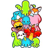 Kawaii Friends. Adorable Creatures. Plushie Party Photographic Print