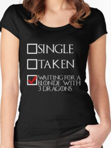 Waiting for a blonde with 3 dragons (white text + tick) Women's Fitted Scoop T-Shirt