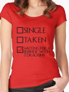 Waiting for a blonde with 3 dragons (black text + tick) Women's Fitted Scoop T-Shirt