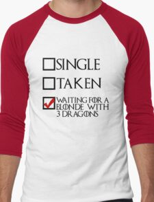 Waiting for a blonde with 3 dragons (black text + tick) Men's Baseball ¾ T-Shirt