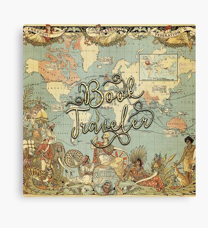 Book Traveler Vintage Map v2 Canvas Print