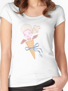 Marie Antoinette Ice Cream Cone with Bat Wings Women's Fitted Scoop T-Shirt