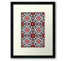 Floral Moroccan Tile, Red, Black and White Framed Print
