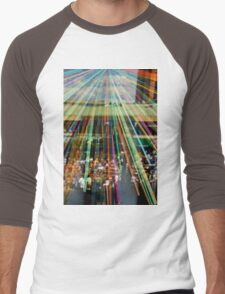 Colorful Crowd Reflection   Men's Baseball ¾ T-Shirt
