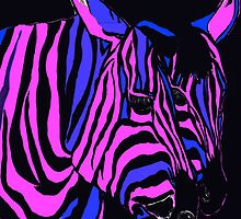 Midnight Zebra Abstract by Saundra Myles