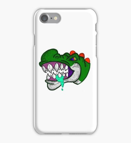 An Unhappy Green Dinosaur iPhone Case/Skin