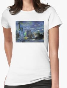 New York City Skyline trapped in Starry Night Womens Fitted T-Shirt