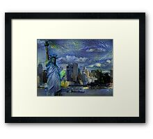 New York City Skyline trapped in Starry Night Framed Print