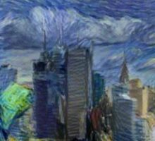 New York City Skyline trapped in Starry Night Sticker