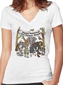 Happy National Zoo Keeper Week Women's Fitted V-Neck T-Shirt