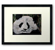Panda Black And White China Zoo Bear Acrylic Painting Framed Print