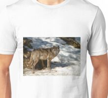 Black Wolf In Snow Unisex T-Shirt