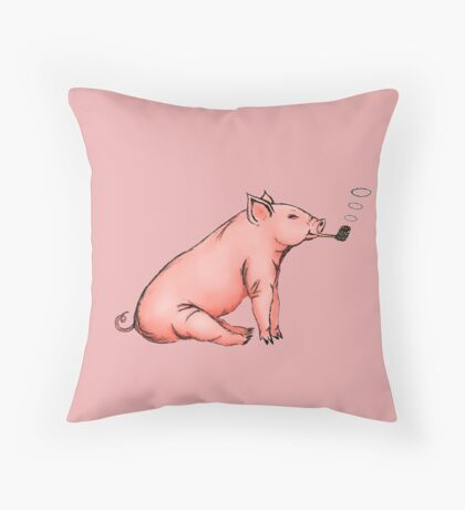 Folked Ham Throw Pillow