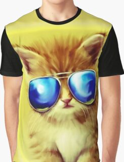 Cute Kitty with Sunglasses Graphic T-Shirt