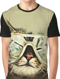 Cute Cat With Glasses Graphic T-Shirt