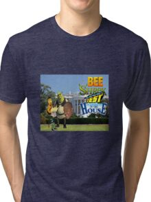 Bee Shrek Test in the House Design Tri-blend T-Shirt